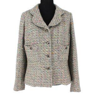 CHANEL 1997 Multicolor Tweed CC Button Jacket 46